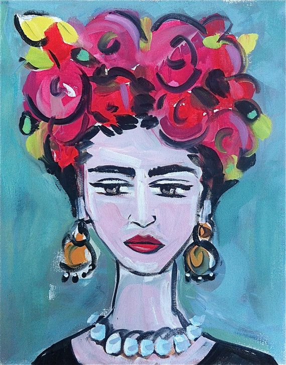 Large Frida Kahlo Portrait canvas pink by DevinePaintings on Etsy