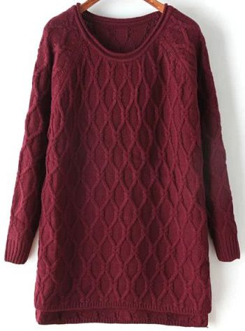 Red Long Sleeve Diamond Patterned Dipped Hem Sweater 26.67   For me