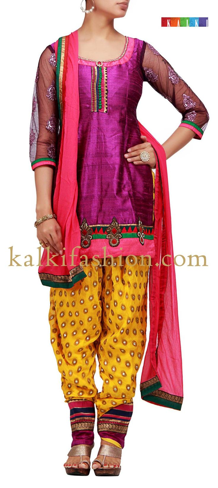 Buy it now http://www.kalkifashion.com/patiala-suit-in-purple-with-embroidered-patch.html Patiala suit in purple with embroidered patch