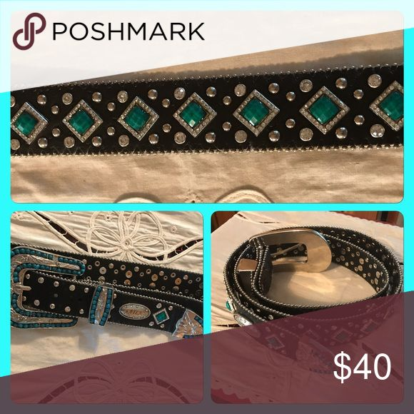 Western Bling Belt Black with turquoise gems and white crystals. Accessories Belts