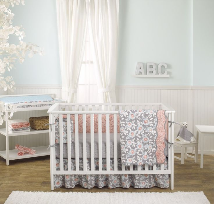@balboababy Grey Dahlia Crib Bedding - Floral is everything in the nursery right now! #suddenlyspring #balboababy