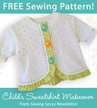 Child's Sweatshirt Makeover Download from Sewing Savvy newsletter. Click on the photo to access the free pattern. Sign up for this free newsletter here: AnniesNewsletters.com.