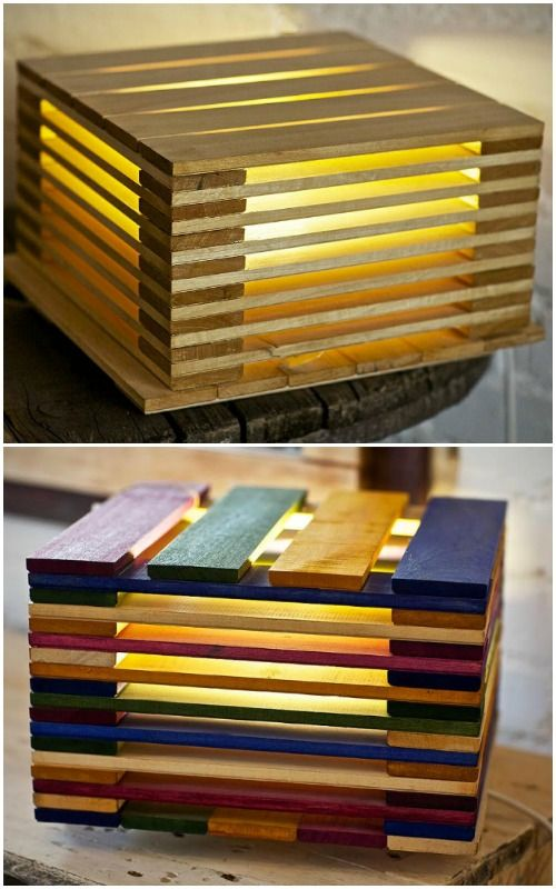 Cute Mini Pallet Bedside Lamps - #TableLamps #Bedroom #Bedside #Design…