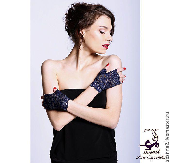 """Купить Митенки, перчатки без пальцев кружевные эластичные """"Синий соблазн"""" - митенки, митенки ккупить"""