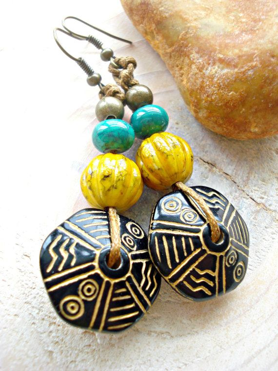 African Earrings  Hippie Earrings  Yoga Wear  by HandcraftedYoga, $25.00