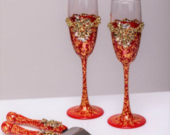 Rustic Wedding Set Burlap and Lace Toasting Flutes by AniArts