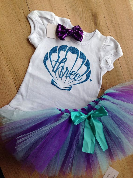 Under the Sea 3rd Birthday Outfit/Under the Sea Tutu Birthday Outfit/Purple and Aqua Mermaid Birthday/Third Birthday Outfit Girls by BespokedCo