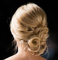curly bun side part updo - Google Search