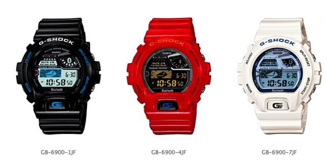 Casio G-SHOCK GB-6900   e.t.a. 03.016.12   connects to smartphones via bluetooth le (low-energy)   shows incoming calls, emails, and SMS