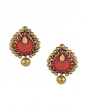 Maroon and Gold Leaf Earrings