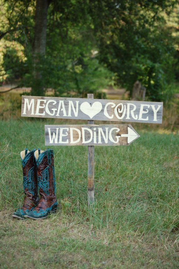 Country Wedding Sign LARGE FONT Hand painted Signs on Reclaimed Wood. Wedding Road signs on Post