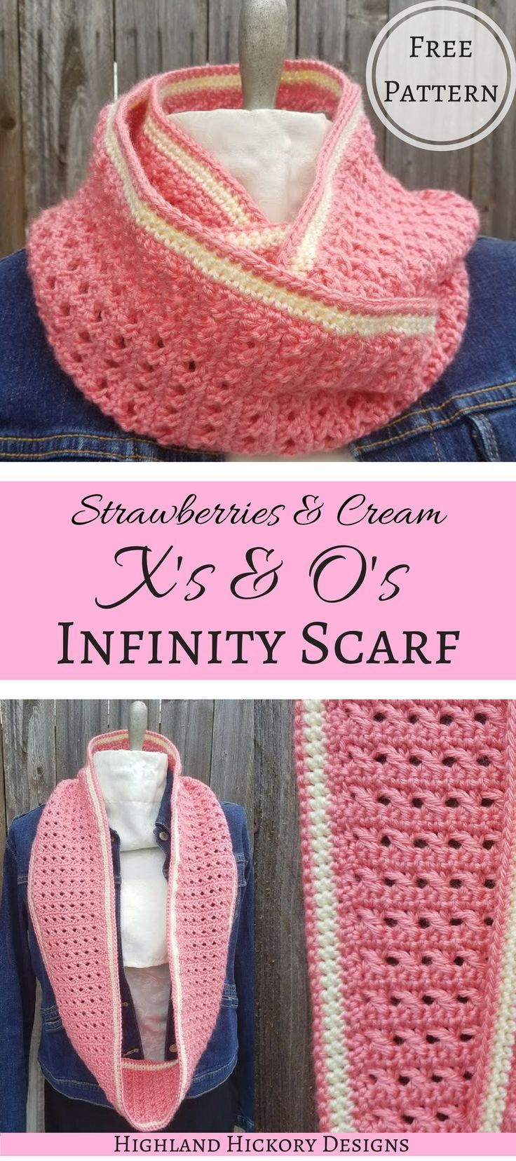Free crochet pattern for women's winter wear. The Strawberries and Cream X's & O's Infinity Scarf is the perfect accessory to help fight the winter chill.