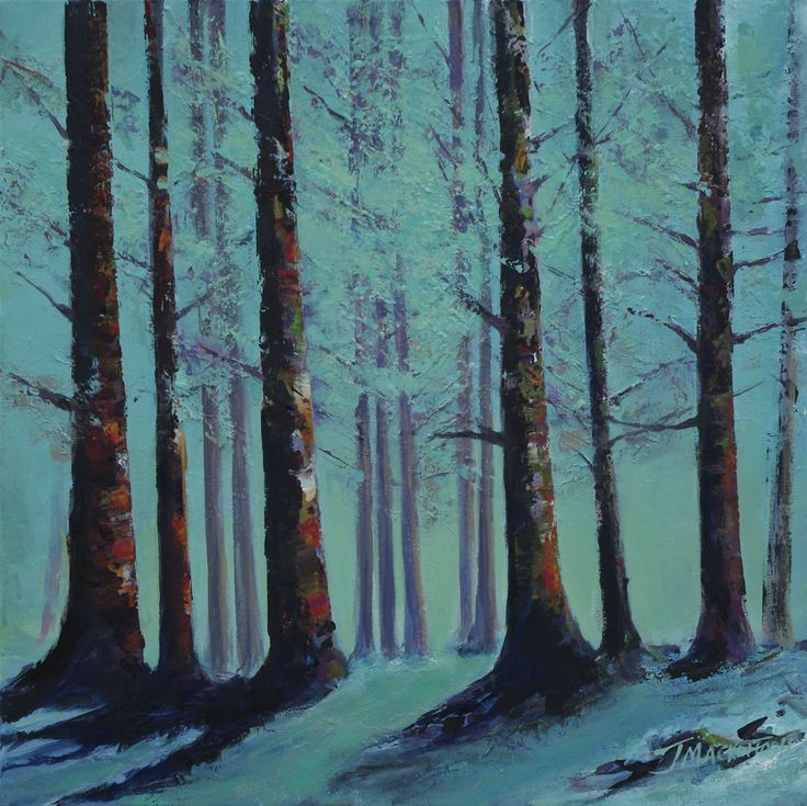 Trees in Glen Ashdale  by Scottish contemporary landscape painter J Mackintosh