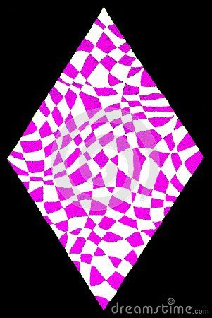 A gel pens hand drawing of a pink white diamond shape on a black background.