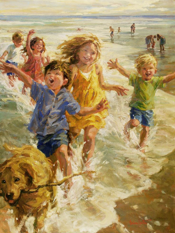 corinne hartley children on the beach - Children Painting Images