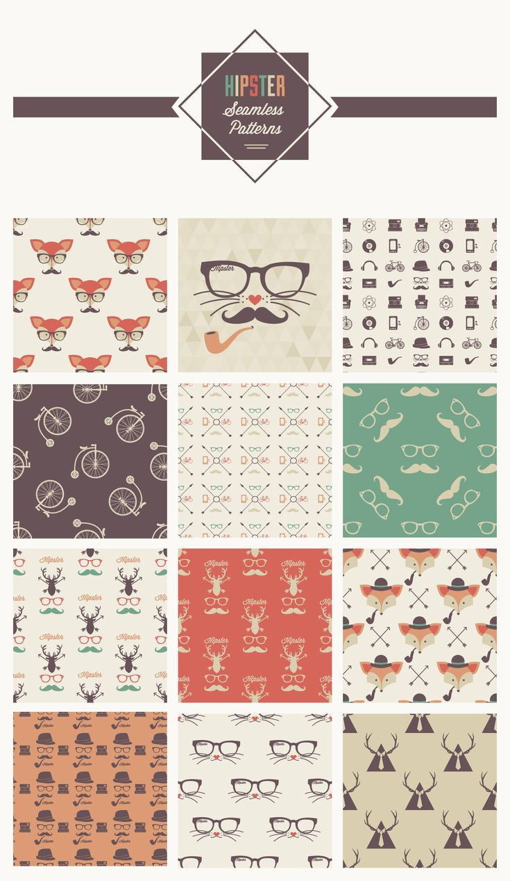 TweetSumoMe Today, we are happy to release this exclusive freebie of hipster seamless patterns from Vecteezy.com. The patterns come in Adobe illustrator .AI, .EPS and .PSD formats, so this means you can easily edit and