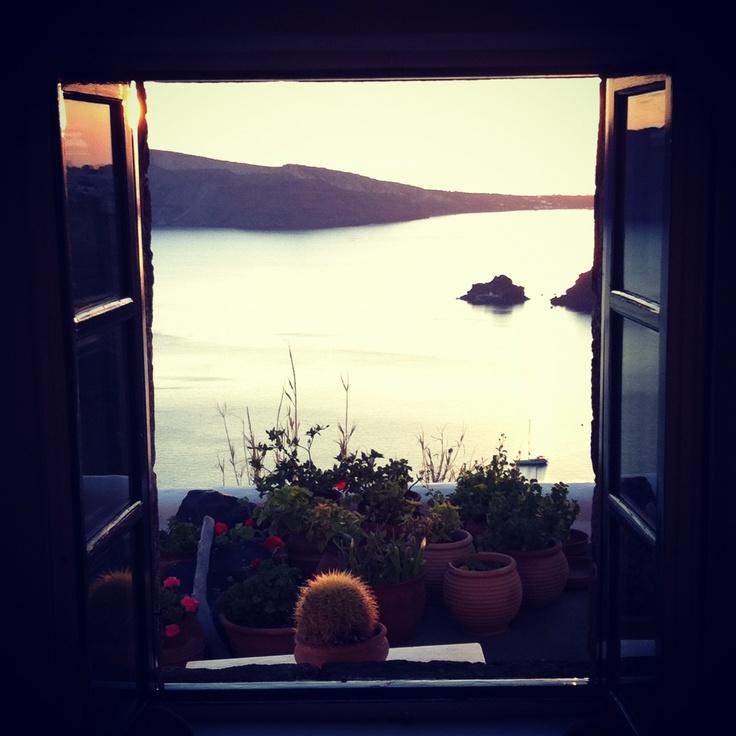 Window with a view! Perivolas Traditional Houses, Santorini,Greece.