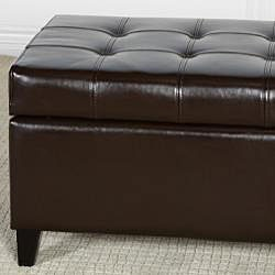 mission brown tufted bonded leather ottoman storage bench