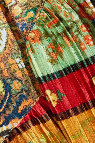 Etro - Printed Plissé Washed-silk Jacket - Marigold - IT40