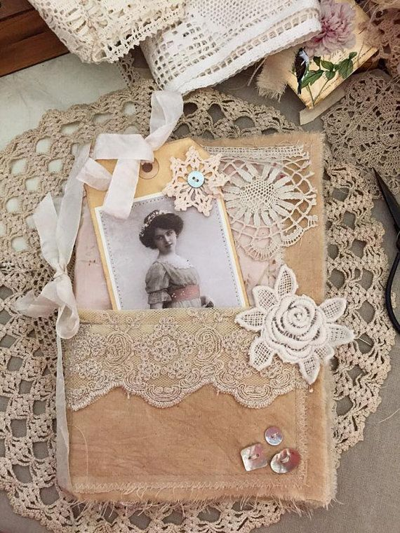 Vintage Lady Altered art Fabric sewing by olivegroveprimitives