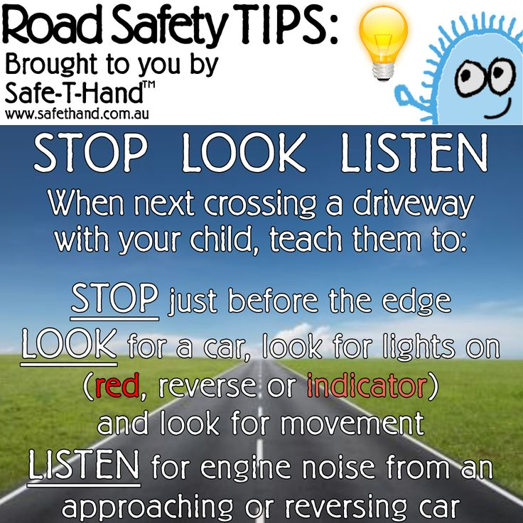Road Safety Tip 'Stop Look Listen'  For more tips, competition pre-entry, discounts + more - Join our newsletter: www.safethand.com.au  #roadsafety #tips #safethand #fundraise #educate #child #pedestrian