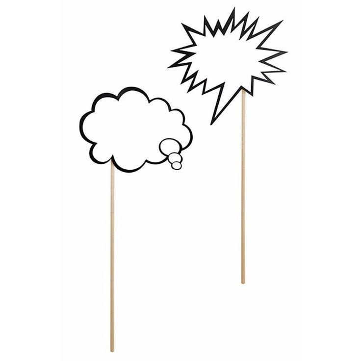 Tekstballon fotoprops 2 stuks. Fotoprop setje van 2 stuks tekstballonen zoals gebruikt in strips. Leuk voor op een bruiloft, verjaardag of vrijgezellenfeest. Afmeting tekstballon: ongeveer 11 cm. Materiaal: hout/karton.