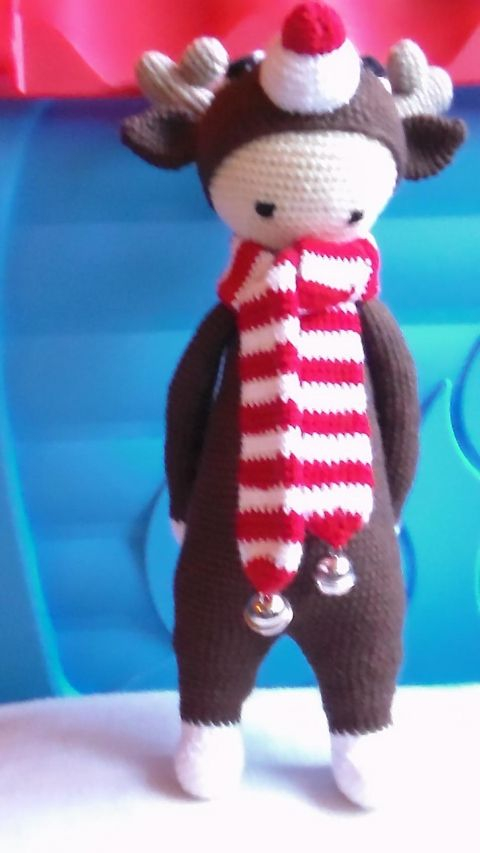 Rudolf a Rénszarvas fiú horgolt amigurumi, Játék, Báb, Baba játék, Játékfigura, Rudolfnak beöltözött aranyos kisfiú :) Mérete: 38-40 cm. Színei: világos és sötét barna, p..., Meska