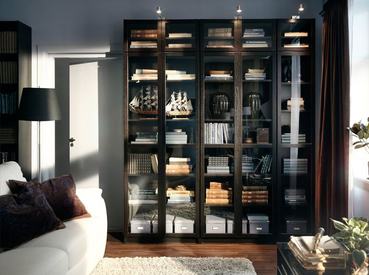 billy black brown bookcases with tempered glass doors and. Black Bedroom Furniture Sets. Home Design Ideas