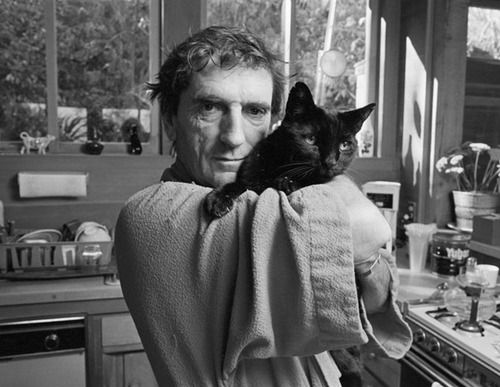 Harry Dean Stanton with black cat, Peter the Great.