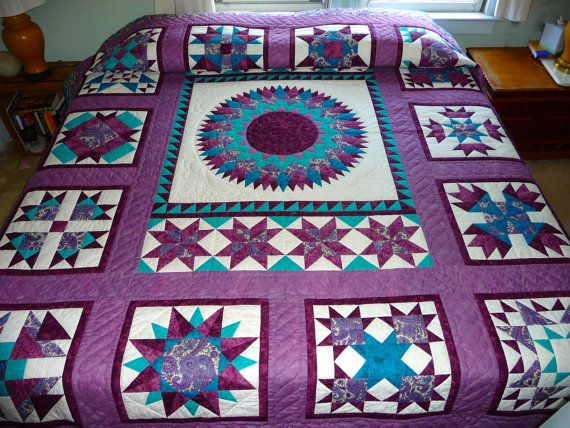 Unusual Quilting Ideas : Amish Made Quilt Medallion Pattern Unique Handmade Quilt