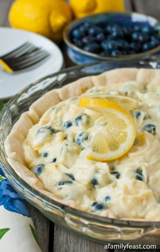 Lemon Blueberry Cream Pie - A wonderful summertime recipe and super easy to make!