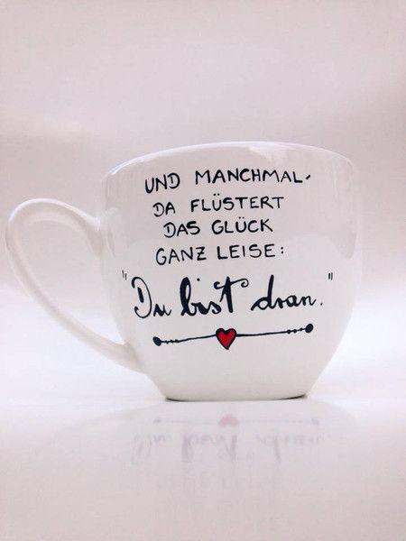 Becher & Tassen - Jumbotasse GLÜCK ★ Spruchtasse Tasse Geschenk - ein Designerstück von Hoch-Die-Tassen bei DaWanda