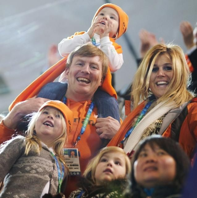 Dutch Royals-the soon-to-be King Willem Alexander and Queen Maxima, with their daughters Crown Princess Catharina Amelia, Princess Alexia, and on dad's shoulders, Princess Ariane