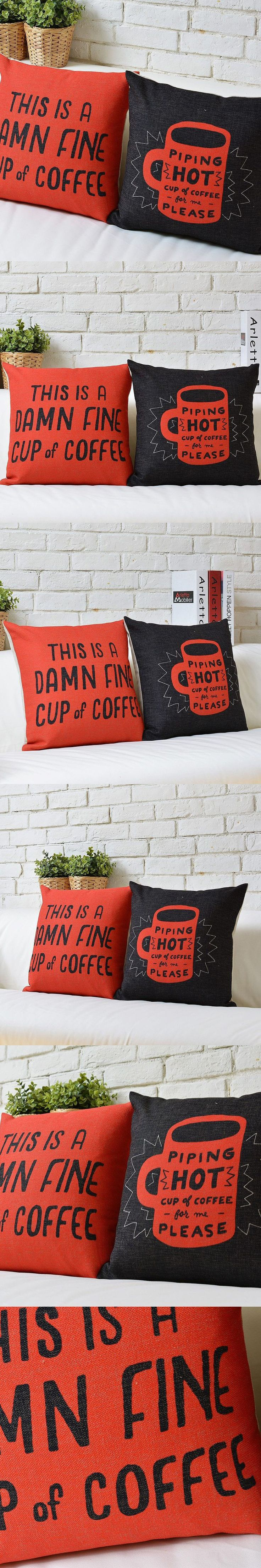 Customize 18in*18in Modern Minimalist Pillow Case Coffee Letters Vintage Cushion Cover Retro Cartoon Cushions Home Decor $14.99