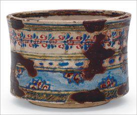 "Ember pot in ""Dutch"" style, by Ogata Kenzan (1663– 1743), Narutaki workshop, 1699–1712, Japan, Edo period. 9.3 x 13.3 cm. Courtesy Freer Gallery of Art, Smithsonian Institution; gift of Charles Lang Freer."