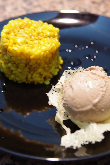 Barley with safron and balsamic vinegar ice cream