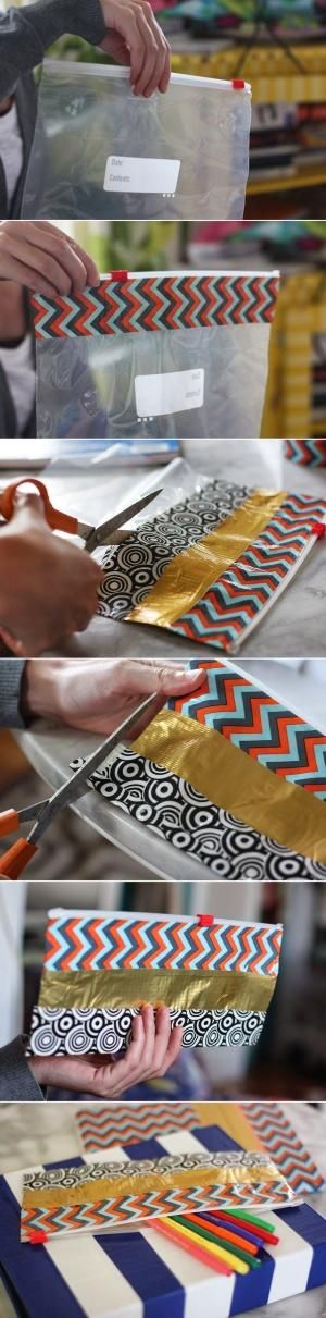 Duct Tape + ziplock bag = diy Pencil case by cheri