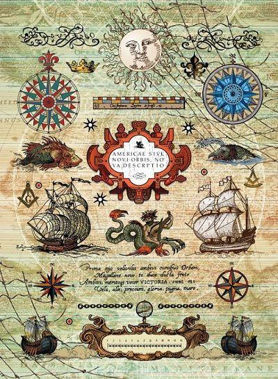 """Рисовая бумага """"Морское путешествие"""", артикул: CPD0545, формат А3, плотность бумаги 25 г/м2."""