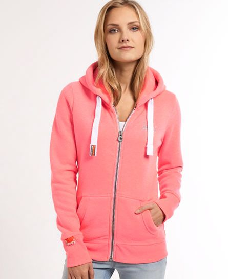 Shop Superdry Womens Orange Label Zip Hoodie in Faded Neon Pink. Buy now  with free delivery from the Official Superdry Store.