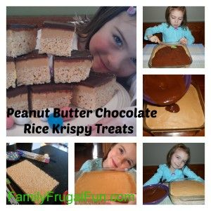 """Looking to make some FUN Kids Easter Treats? These Peanut Butter Chocolate topped Rice Krispy Treats are an easy """"no bake"""" recipe that you can make with kids in the kitchen!"""