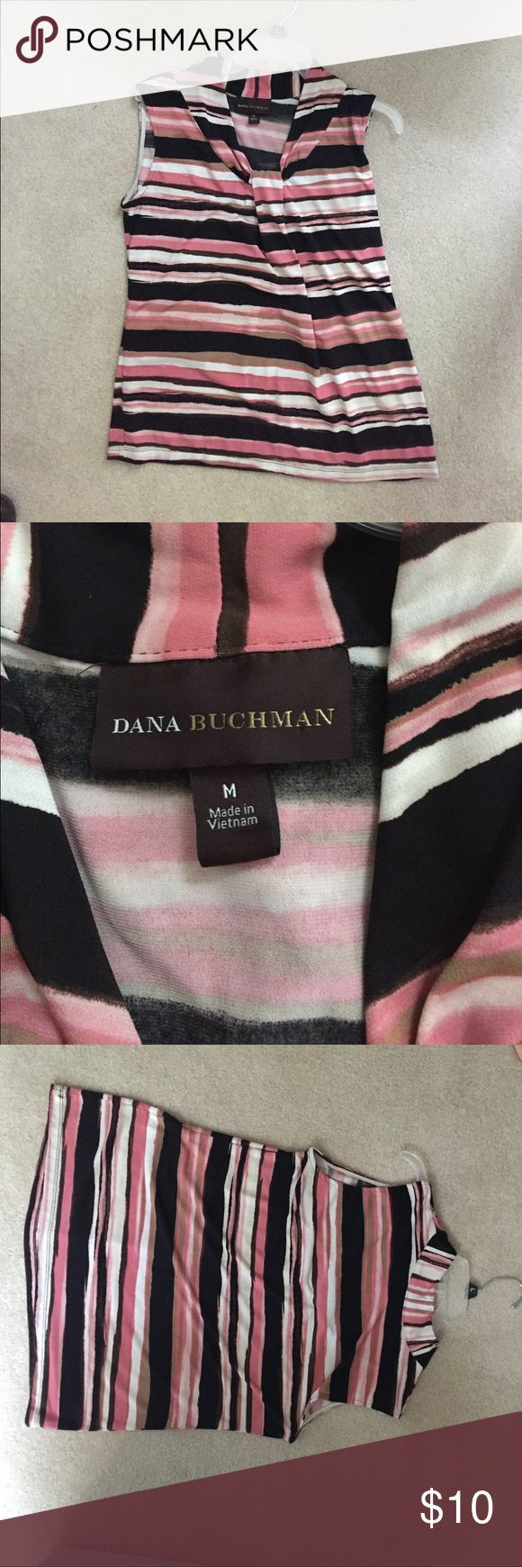 Dana Buchanan stripped, sleeveless dress blouse Size Medium - Dana Buchman - striped design, loose fitting.  PRODUCT FEATURES Release pleats V-neck Stretchy jersey construction FABRIC & CARE Polyester, spandex Machine wash Imported Dana Buchman Tops Blouses