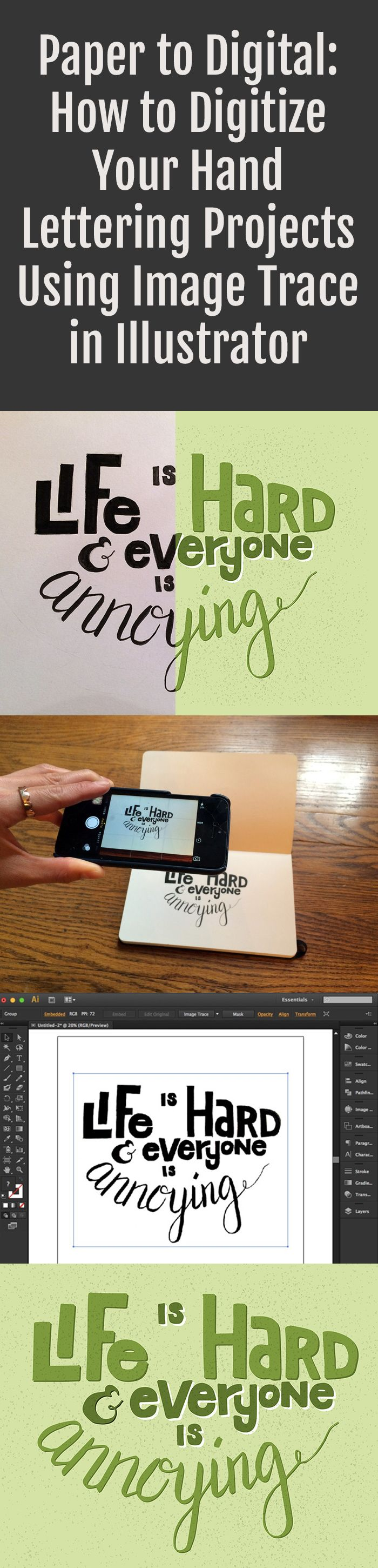 heres a full paper to digital tutorial on how to take your hand lettering projects and