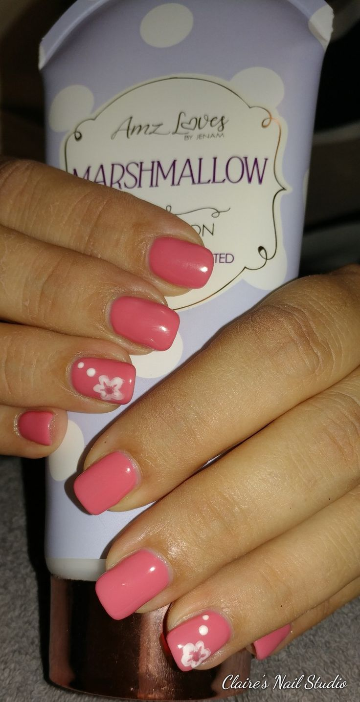 Coral gel overlay with floral accent