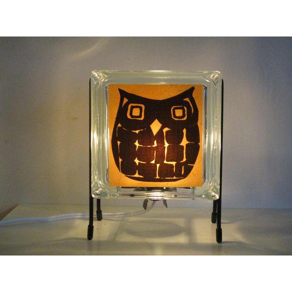 Glowblocks (165 ILS) ❤ liked on Polyvore featuring owl lamps, glass block lamp, orange night light, glass block night lights and glass block lights