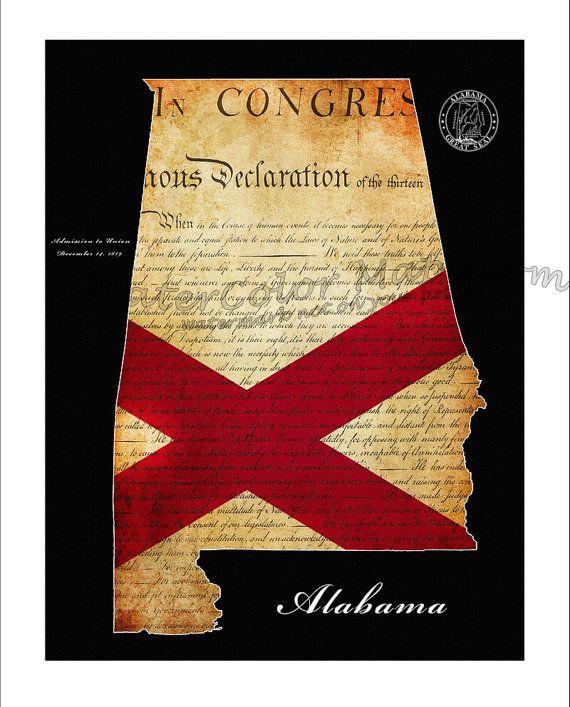 ALABAMA Map, Map of Alabama, Alabama, Crimson Tide, Birmingham, Montgomery, State Map, Flag Art, Crimson Tide, University of Alabama