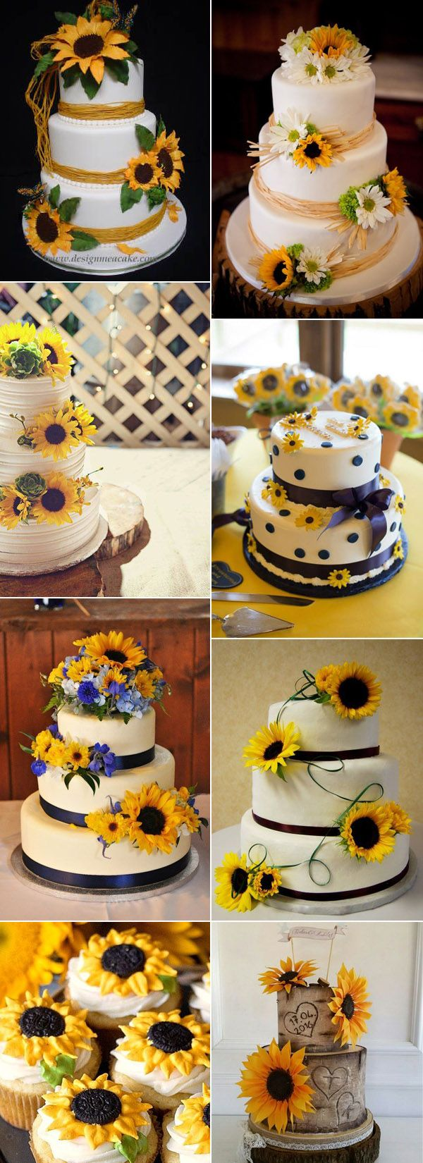 Let them eat cake rustic wedding chic - 40 Super Cool Ideas To Incorporate Sunflowers To Your Wedding Sunflower Wedding Cakesfall Weddingrustic