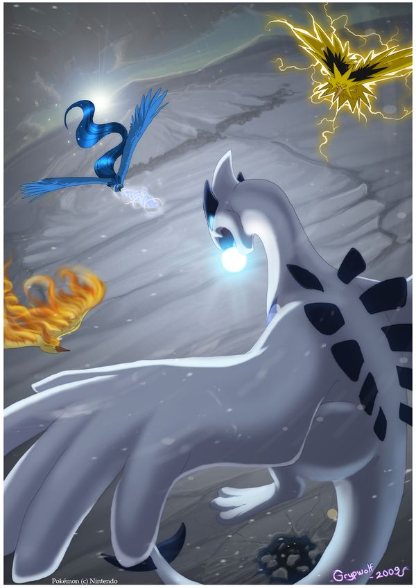 Lugia - Towards and against by *Grypwolf on deviantART (Articuno, Zapdos and Moltres)