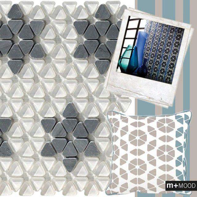 M+ MOOD - When Glass Lightness meets Natural Stone Solidity... Get inspired and play with Erone's geometries. #mosaicopiu #mosaic #dialghi #erone #pietra #vetro #glass #naturalstone #stone #geometries #design