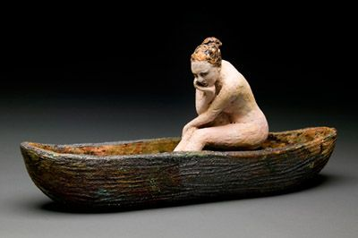 Debra Fritts discusses her decorating techniques for her figurative ceramic sculptures, such as the one above.