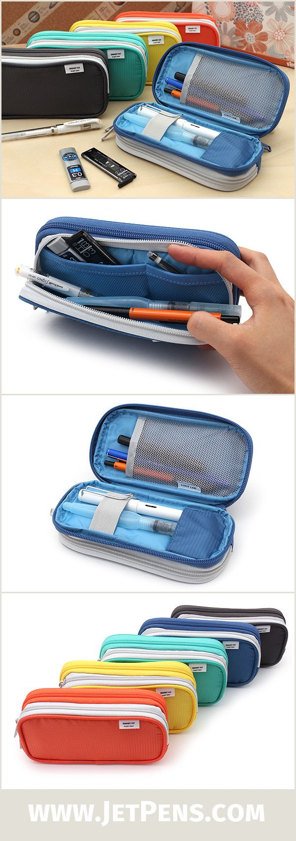 This roomy Lihit Lab Smart Fit Double Pen Case offers two types of stationery storage in one design: one side is a large pouch, while the other side is a book-style organizer.
